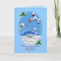 Christmas, Neighbors, Blue Bird and Snow Holiday Card