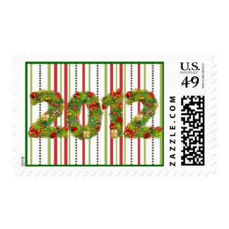 christmas new year festive  2012 green red postage
