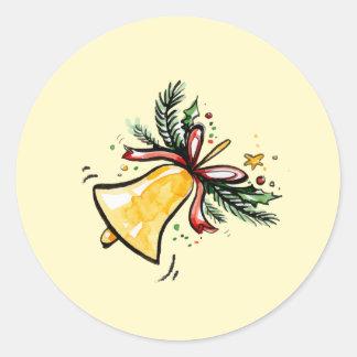 Christmas New Year Gift Yellow Jingle Bell Classic Round Sticker