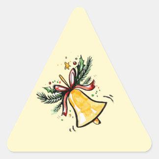 Christmas New Year Gift Yellow Jingle Bell Triangle Sticker