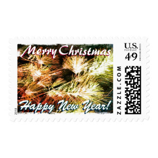 Christmas, New Year Glowing Card Stamp
