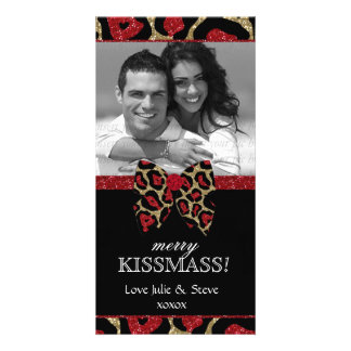 Christmas New Year Holiday Leopard Glitter Photo Card