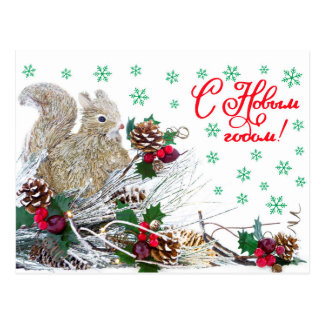 Christmas New Year Squirrel Vintage Rustic Postcard