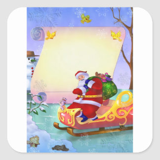 Christmas New Year stickers with Santa