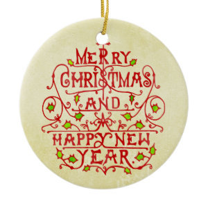 Christmas New Year Vintage Typography Christmas Ornament
