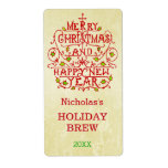Christmas New Year Vintage Typography Personalized Shipping Label