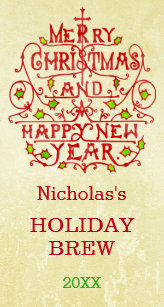 christmas new year vintage typography personalized label