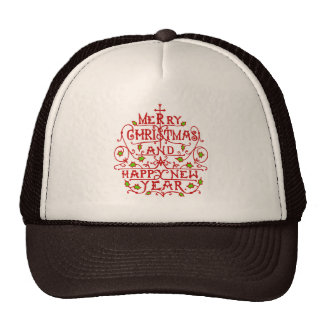 Christmas New Year Vintage Typography Trucker Hat