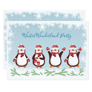 Christmas, New Year Winter Penquins Party Card