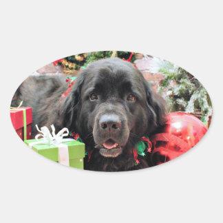 Christmas - Newfoundland - Izzie Oval Sticker