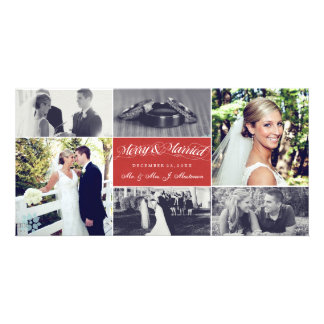 Christmas Newly Weds Merry & Married Photo Collage Photo Card