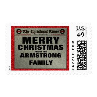 Christmas Newspaper Family Name Postage