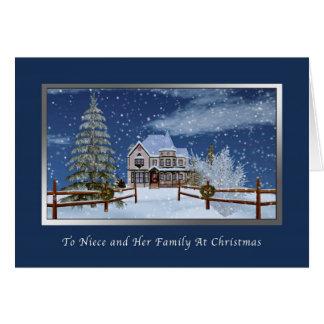 Christmas, Niece and Family, Snowy Winter Scene Card