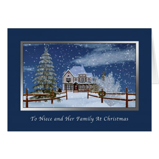 Christmas, Niece and Family, Snowy Winter Scene Card