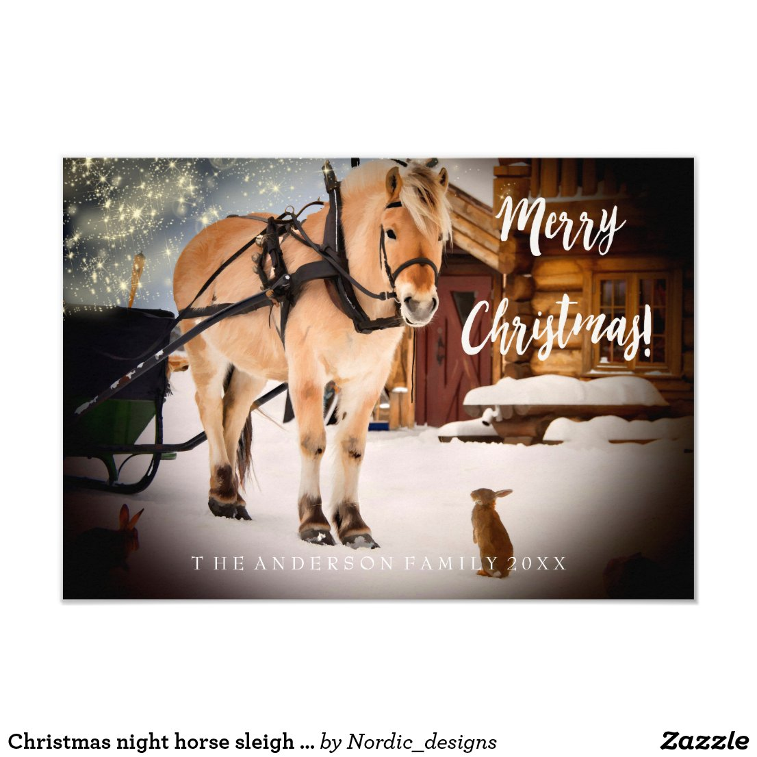 Christmas night at a farm horse with sled card