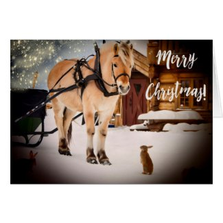 Christmas night at farm with horse custom photo
