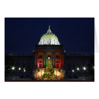 Christmas Night at the Pennsylvania State Capitol Card