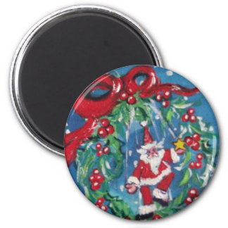 CHRISTMAS NIGHT CROWN WITH RED RIBBON 2 INCH ROUND MAGNET