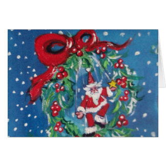 CHRISTMAS NIGHT CROWN WITH RED RIBBON GREETING CARD