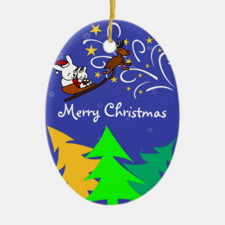 Christmas Night Double-Sided Oval Ceramic Christmas Ornament
