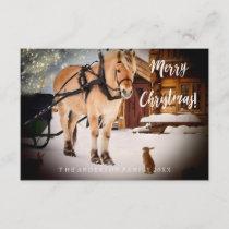 Christmas night horse sleigh ride animals cute invitation