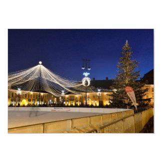 Christmas night in Sibiu, Romania Card