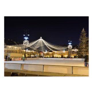 Christmas night in Sibiu, Romania Large Business Card