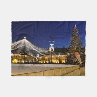 Christmas night in Sibiu, Romania Fleece Blanket
