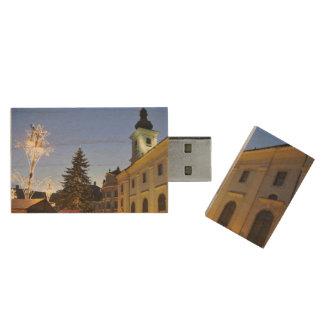 Christmas night in Sibiu, Romania Wood USB 2.0 Flash Drive