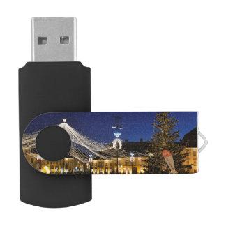Christmas night in Sibiu, Romania Swivel USB 2.0 Flash Drive