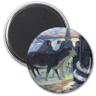 Christmas Night - Paul Gauguin 2 Inch Round Magnet