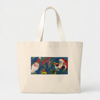 CHRISTMAS NIGHT Santa Bugler Large Tote Bag