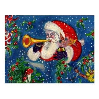 CHRISTMAS NIGHT / SANTA BUGLER POSTCARD