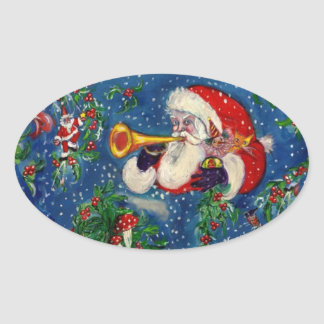 CHRISTMAS NIGHT / SANTA BUGLER OVAL STICKER