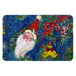 CHRISTMAS NIGHT / SANTA CLAUS AND TOYS, RED BOW MAGNET