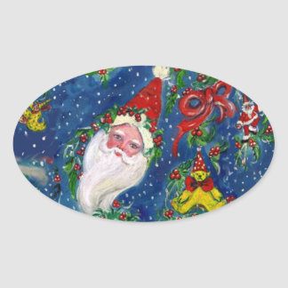 CHRISTMAS NIGHT / SANTA CLAUS OVAL STICKER