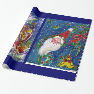 CHRISTMAS NIGHT /SANTA CLAUS PLAYING HARP WRAPPING PAPER
