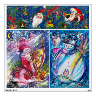 CHRISTMAS NIGHT / SANTA PLAYING HARP AND SNOWMAN WALL STICKER
