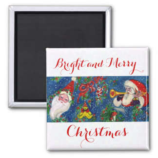 CHRISTMAS NIGHT / SANTA, TOYS ,RED RIBBON AND SNOW MAGNET