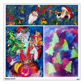 CHRISTMAS NIGHT /SANTA WITH CHRISTMAS TREE WALL DECAL