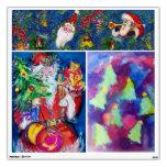 CHRISTMAS NIGHT /SANTA WITH CHRISTMAS TREE ROOM STICKER