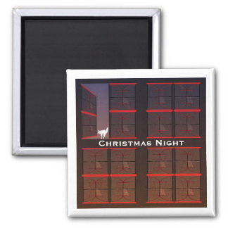 Christmas Night Twilight Open Window 2 Inch Square Magnet