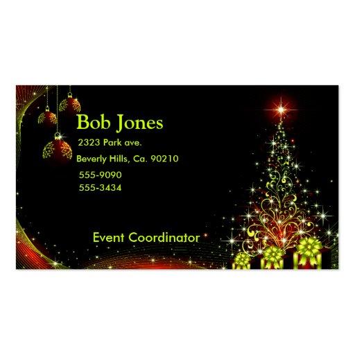 Christmas night wonderland green set business card template for Christmas business card template