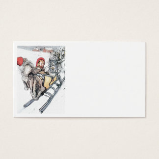 Christmas Nisse and Kersti on Sleigh Ride Business Card