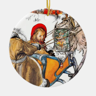 Christmas Nisse and Kersti on Sleigh Ride Ceramic Ornament