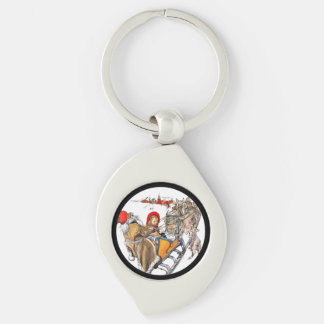 Christmas Nisse and Kersti on Sleigh Ride Keychain