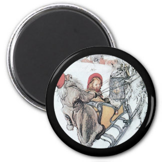 Christmas Nisse and Kersti on Sleigh Ride Magnet