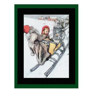 Christmas Nisse and Kersti on Sleigh Ride Postcard