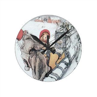 Christmas Nisse and Kirsti Round Wallclock