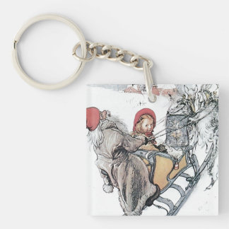 Christmas Nisse and Kirsti Double-Sided Square Acrylic Keychain